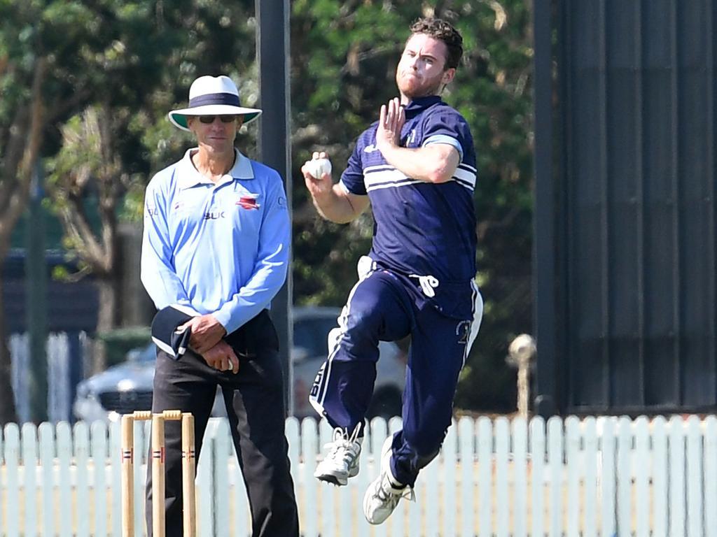 Brothers Matthew Wicks bowling to Norths batter Peter Shepherd.