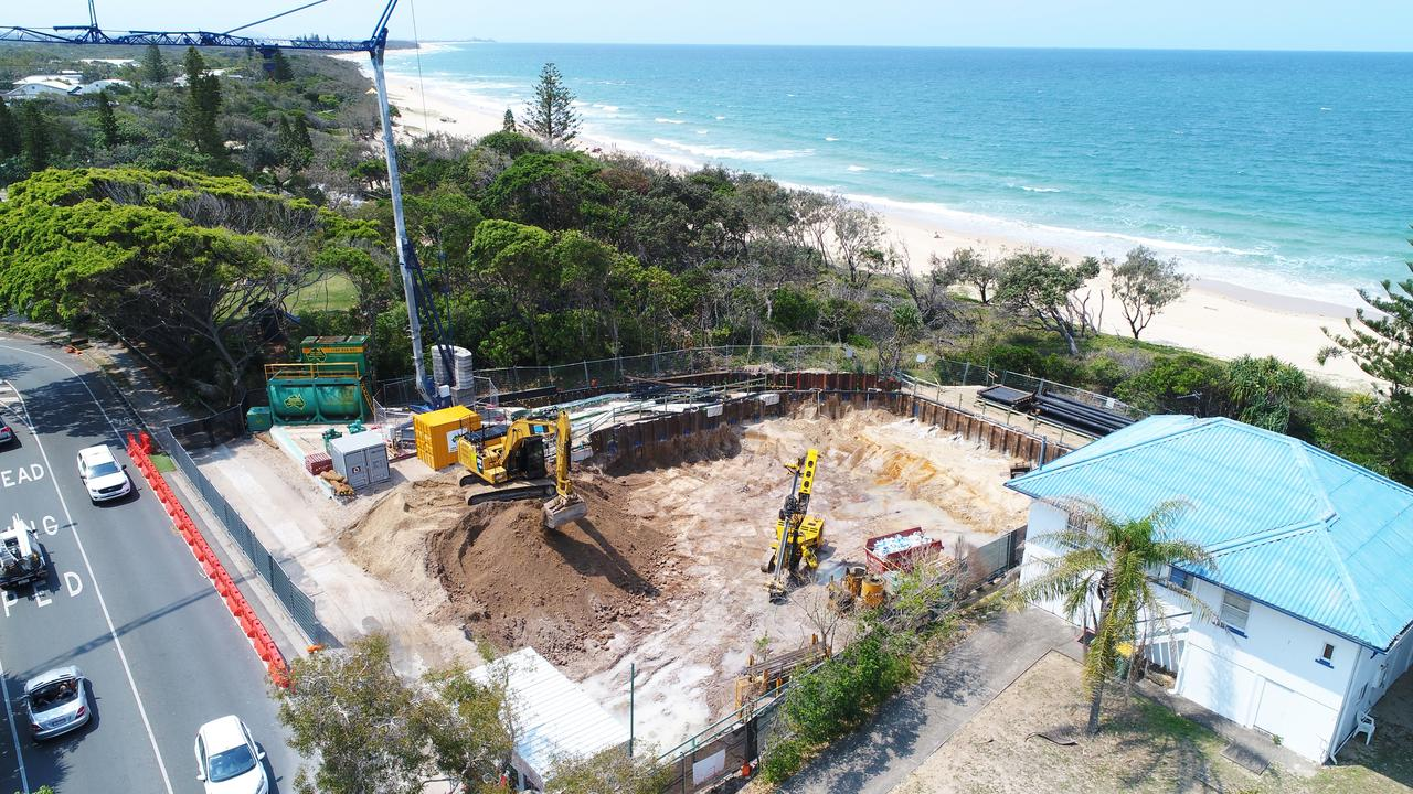 DREAM HOUSE: A high-end home is under construction at a prime Dicky Beach location. Photo: Patrick Woods