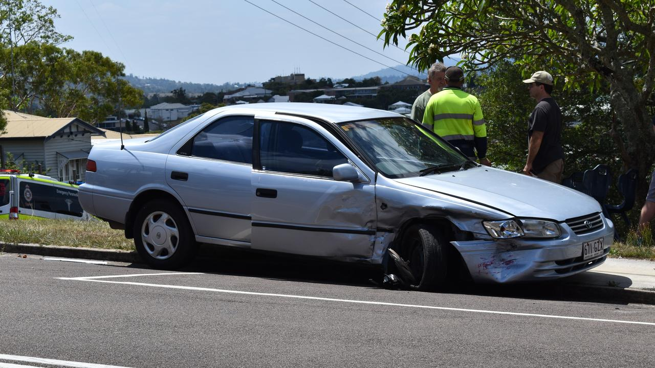 A Toyota Camry with severe front end damage after the crash.on Friday.
