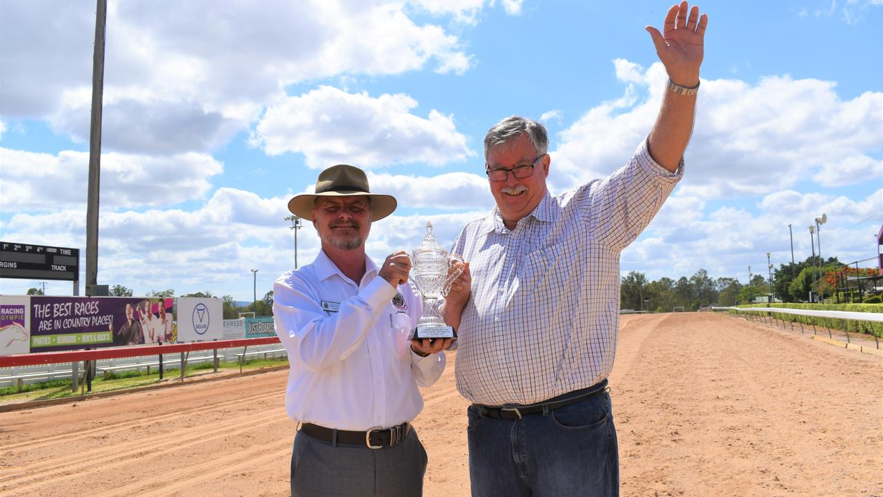 Races - Gympie RSL sub-branch president Martin Muller and Gympie Turf Club treasurer Don Arthur.