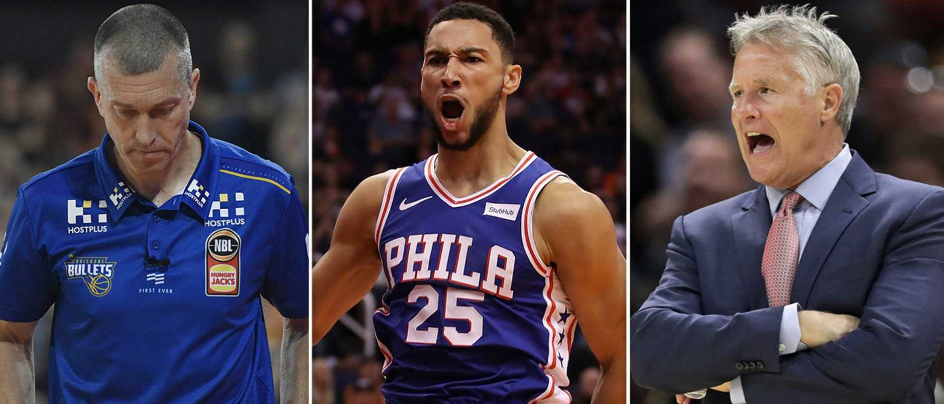 Ben Simmons, Andrej Lemanis and Brett Brown.