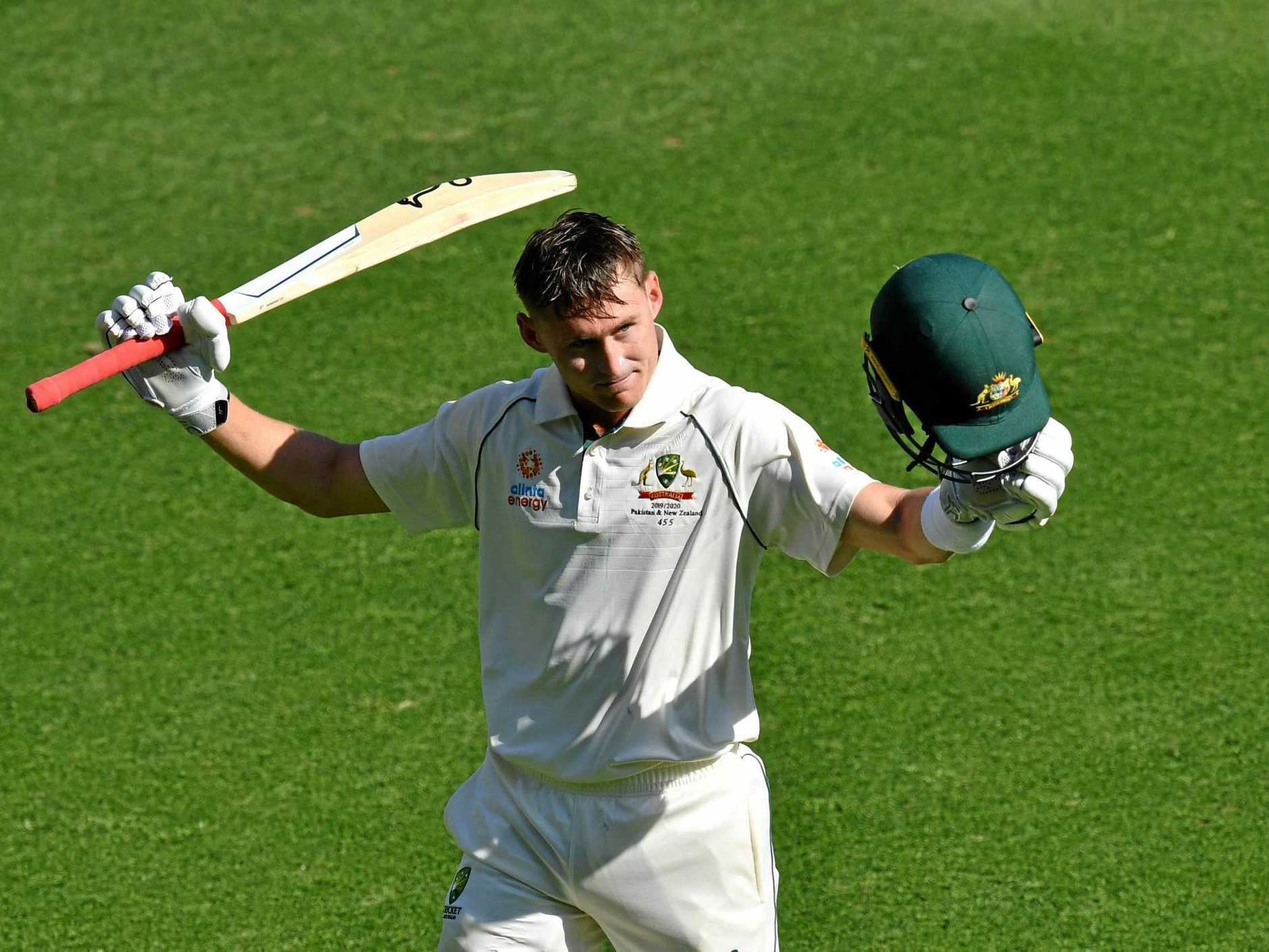 Marnus Labuschagne acknowledges the crowd as he leaves the field after scoring 185 at the Gabba. Picture: Darren England/AAP