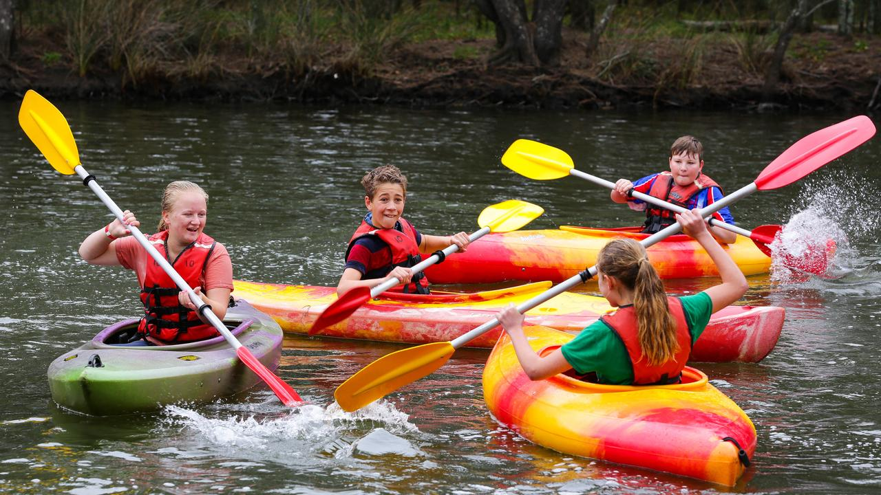 Students enjoyed a morning of kayaking at Narrabeen ahead of the School Spectacular. Picture: Gaye Gerard