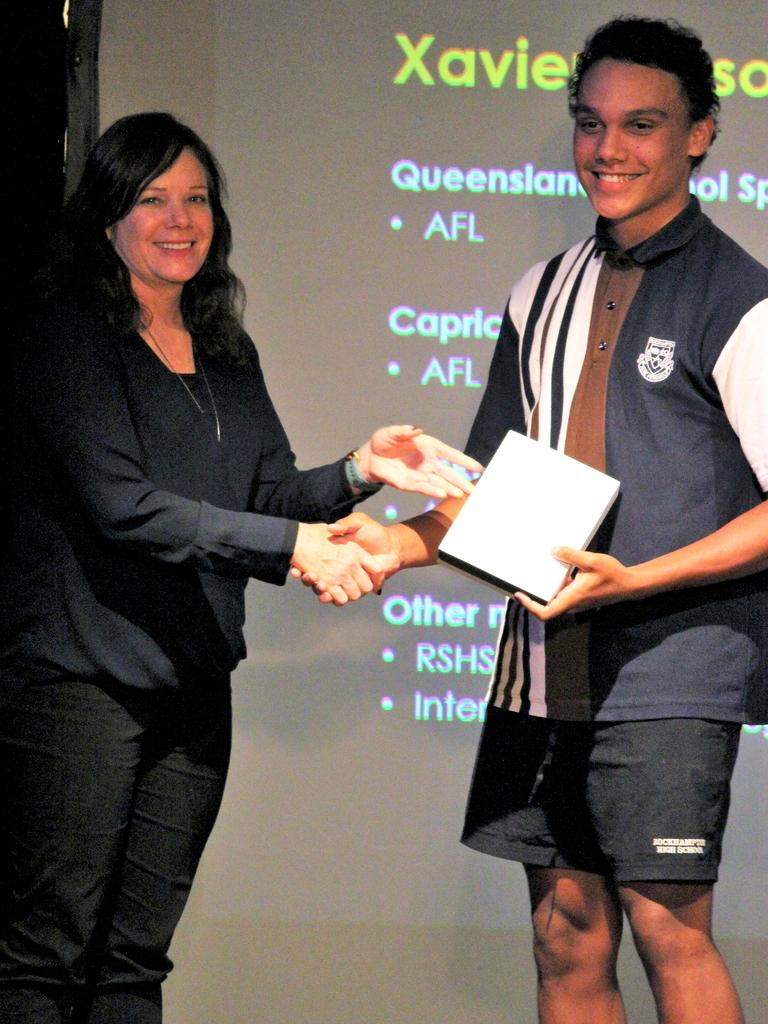 Xavier Mason was named Senior Sportsman of the Year at Rockhampton State High School's sports award evening.