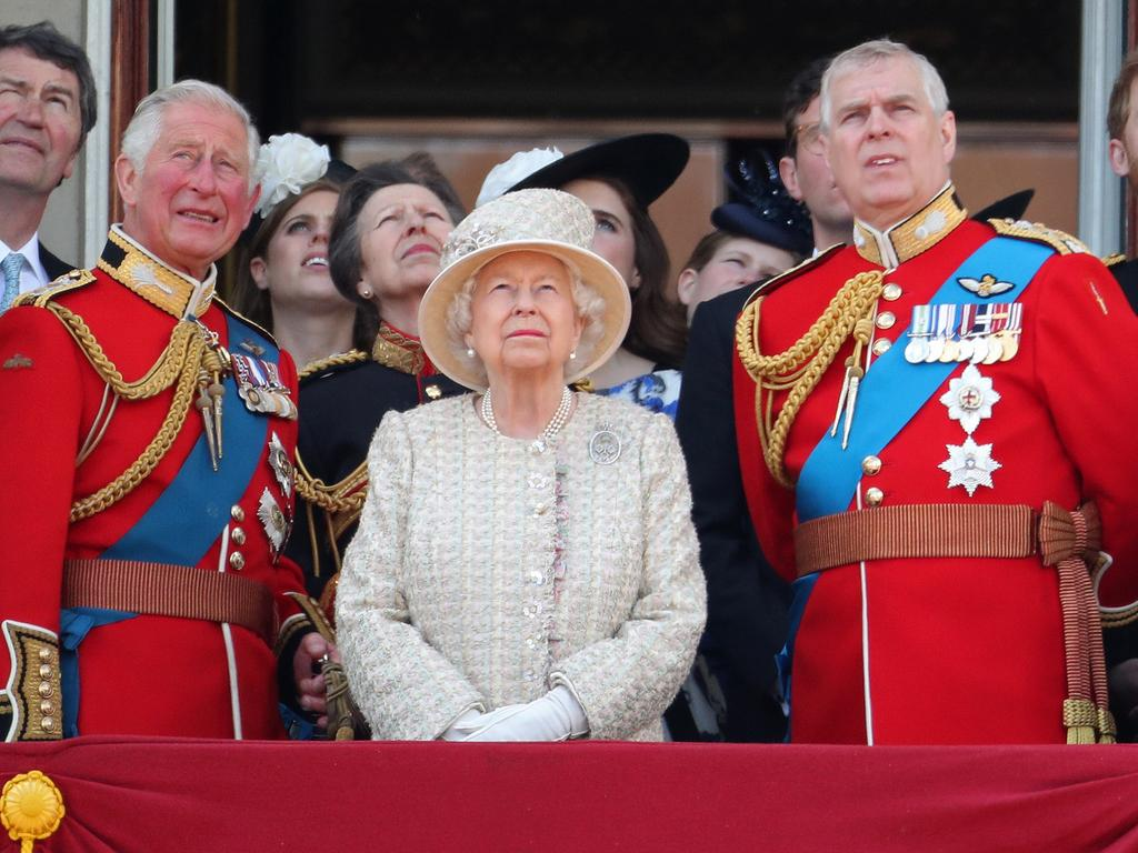 The Queen flanked by two of her sons Charles and Andrew. Picture: Chris Jackson/Getty Images