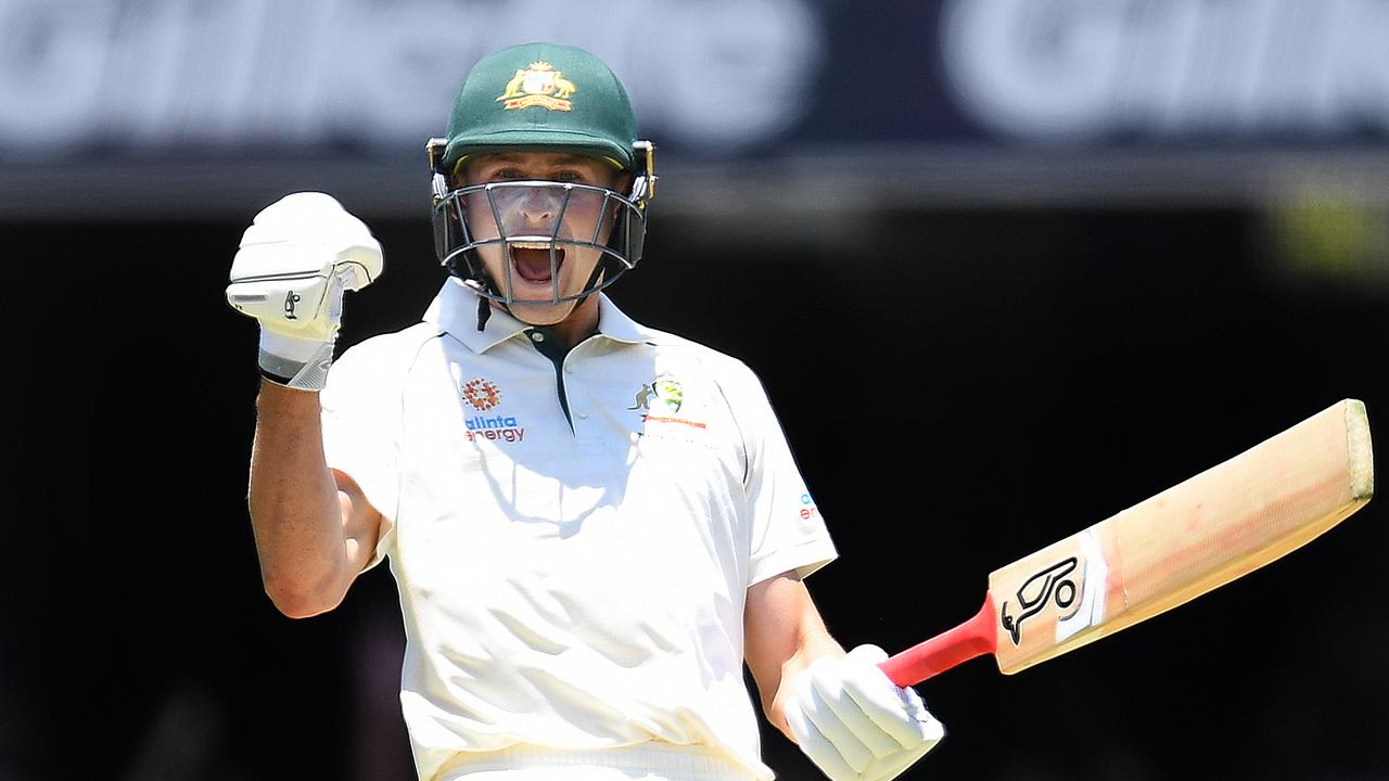 Marnus Labuschange shows his elation after scoring a ton at the Gabba on Saturday.
