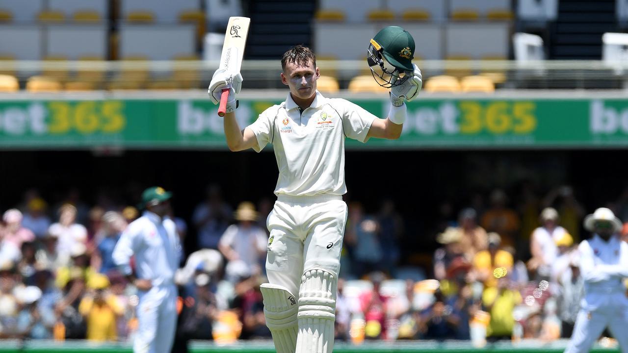Marnus Labuschagne celebrates his maiden Test century. Picture: Getty