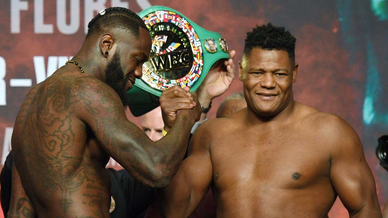 Deontay Wilder and Luis Ortiz lock horns at the weigh-in.
