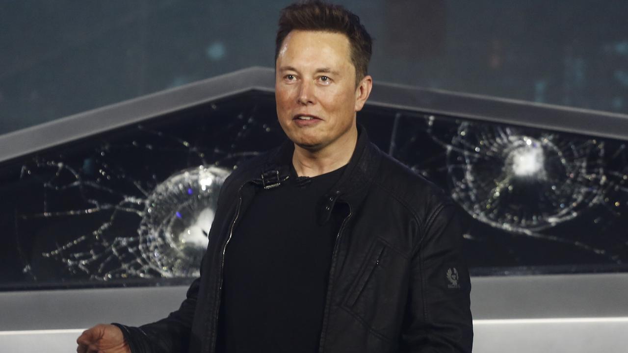 Tesla CEO Elon Musk introduces the Cybertruck at Tesla's design studio. Picture: AP