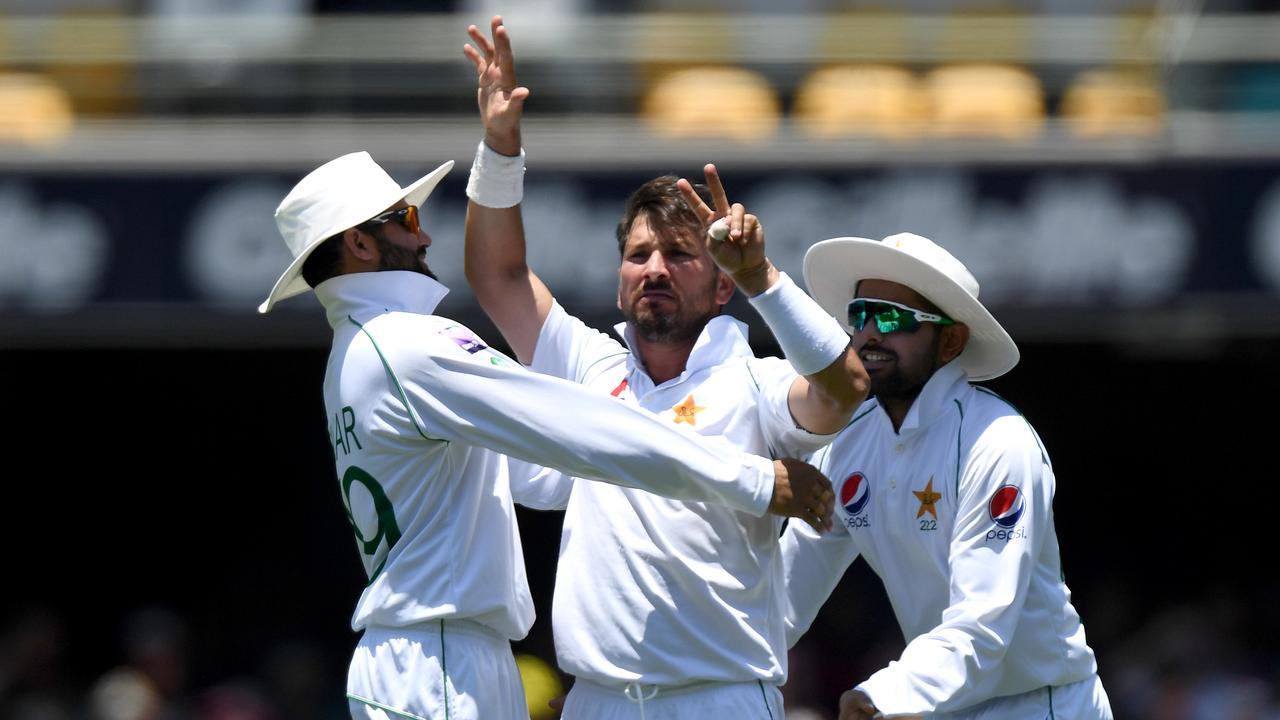 Yasir Shah gestures to Steve Smith after taking the Australian star's wicket. Picture: Getty
