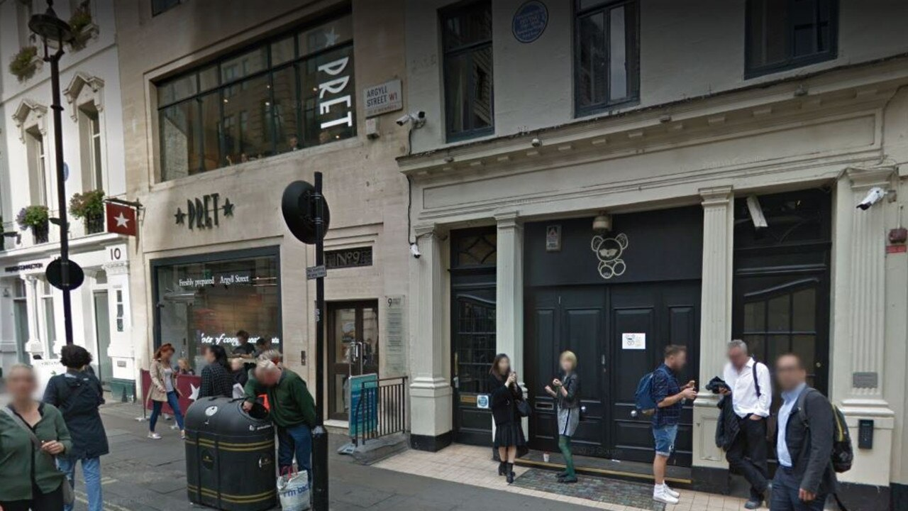 The attack occurred at the Toy Room nightclub in Soho, London. Picture: Google Maps