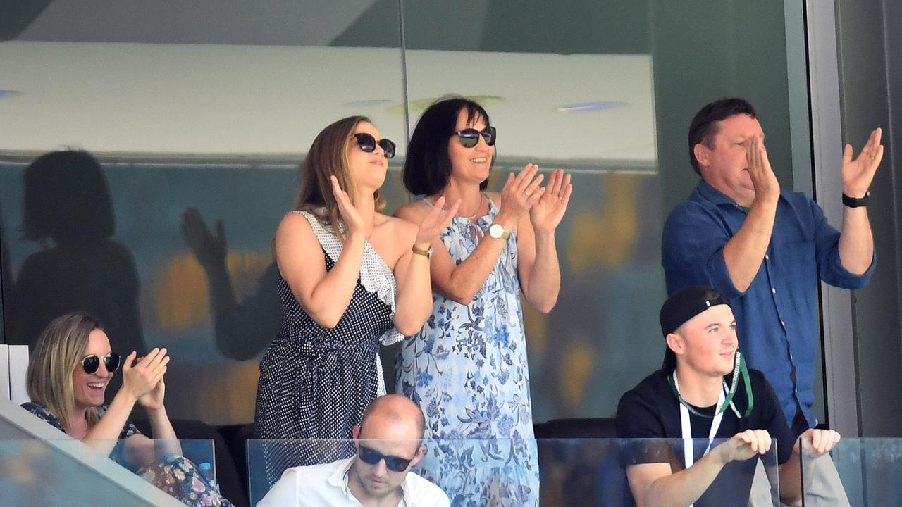Rebekah Labuschagne (centre left) applauds her husband Marnus Labuschagne's century. Picture: AAP