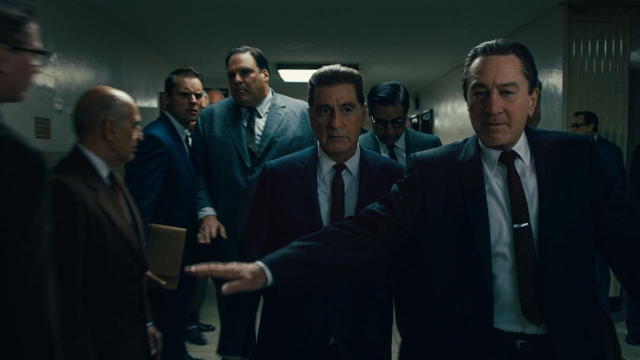 Frank Sheeran (Robert De Niro) is both defender and confidante to Jimmy Hoffa (Al Pacino). Picture: Netlfix