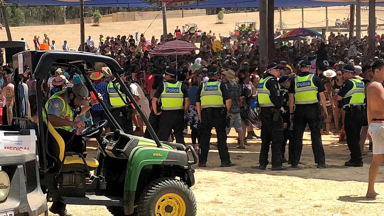 Medical staff and police keep a close on eye on the crowd at the Rainbow Serpent Festival.