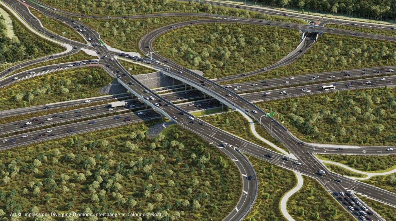 Traffic changes are expected to occur over the coming weeks, as the Diverging Diamond interchange at Caloundra Road is one step closer to being completed.