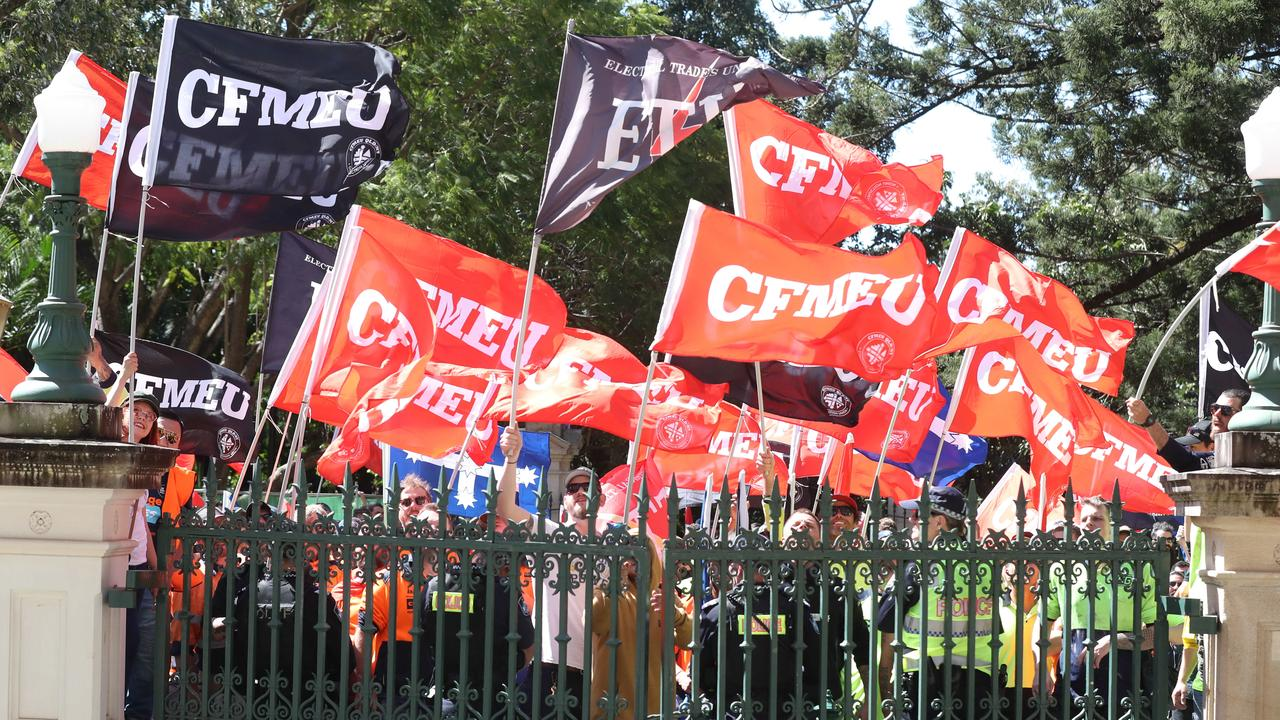 CFMEU protest at Queensland Parliament. There are more CFMEU officials before the courts for industrial law breaches than in any other state. Picture: Annette Dew