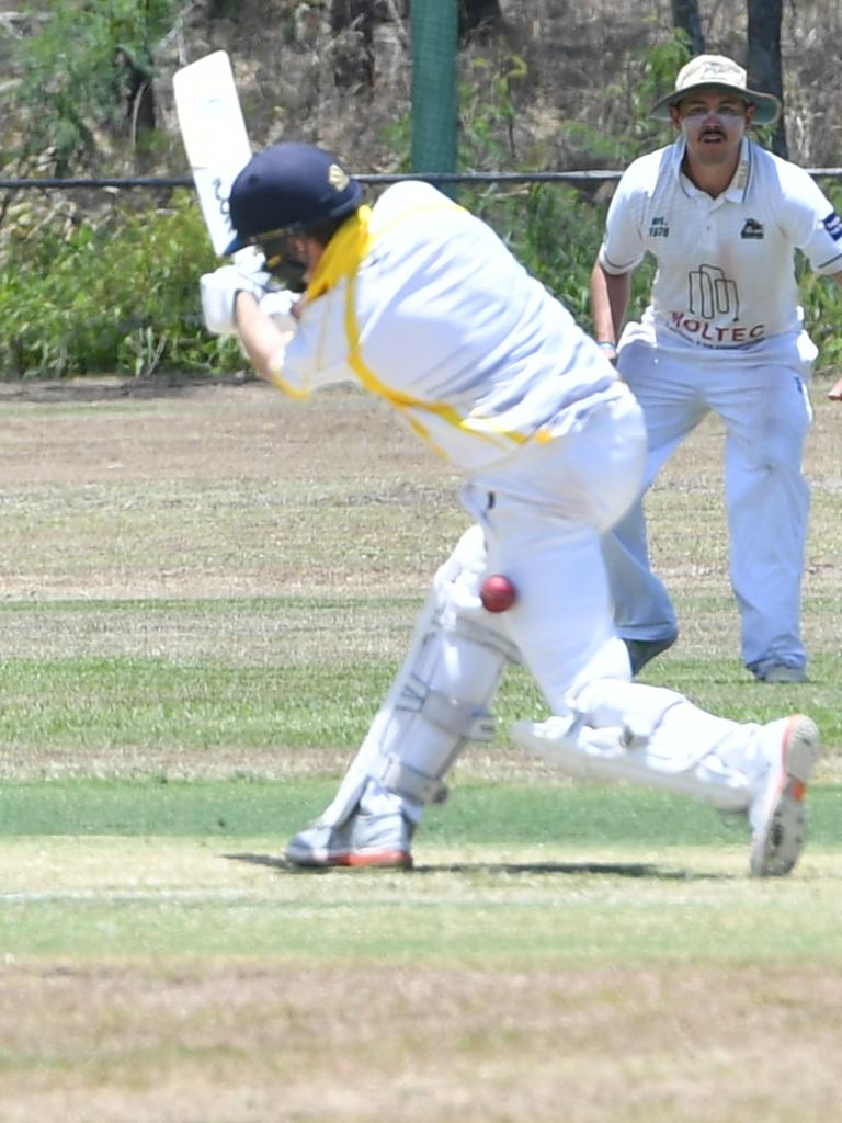 The Glen's Sam Lowry gets hit in the leg in the Frenchville Sports club Capricorn Challenge at Sun Valley Oval 23 November 2019