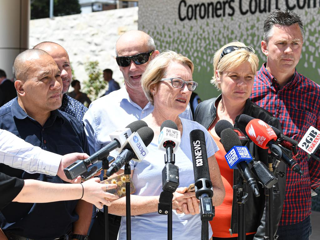 John and Julie Tam and Jennie Ross-King joined the parents of other music festival overdose victims at the NSW Coroners inquest into their children's' deaths. Picture: Peter Rae