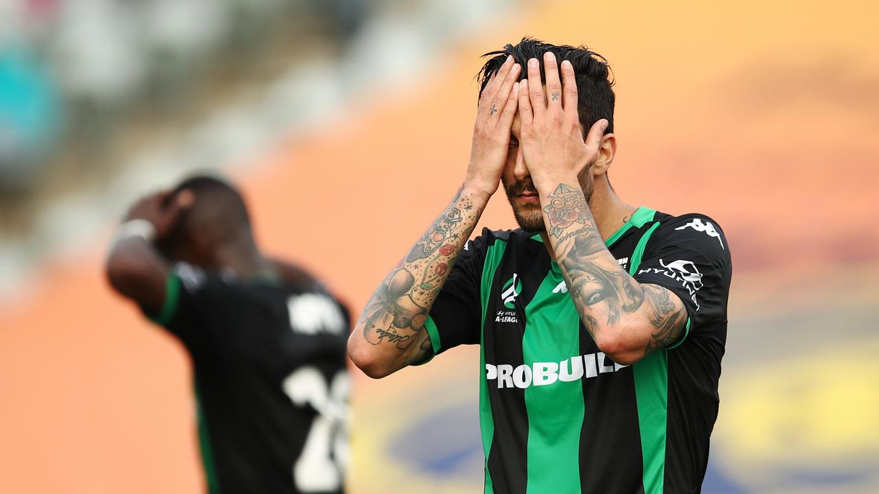 Western United's Panagiotis Kone laments a missed opportunity after the final whistle.