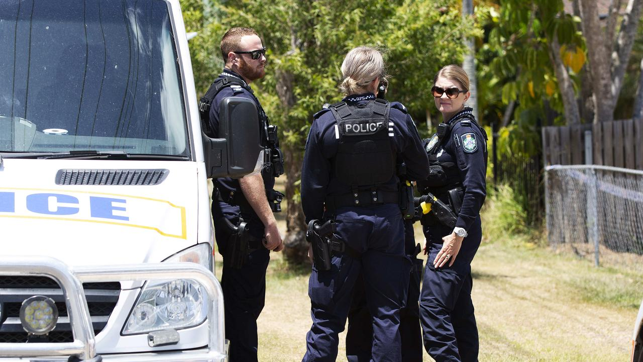 Police remain at the home at Waterford West south of Brisbane. Picture: Attila Csaszar/AAP