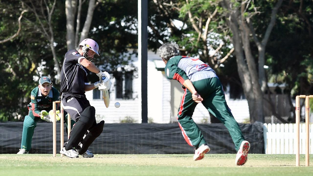 Magpies batter Barnt Attard faces a ball from bowler Scott Randles.