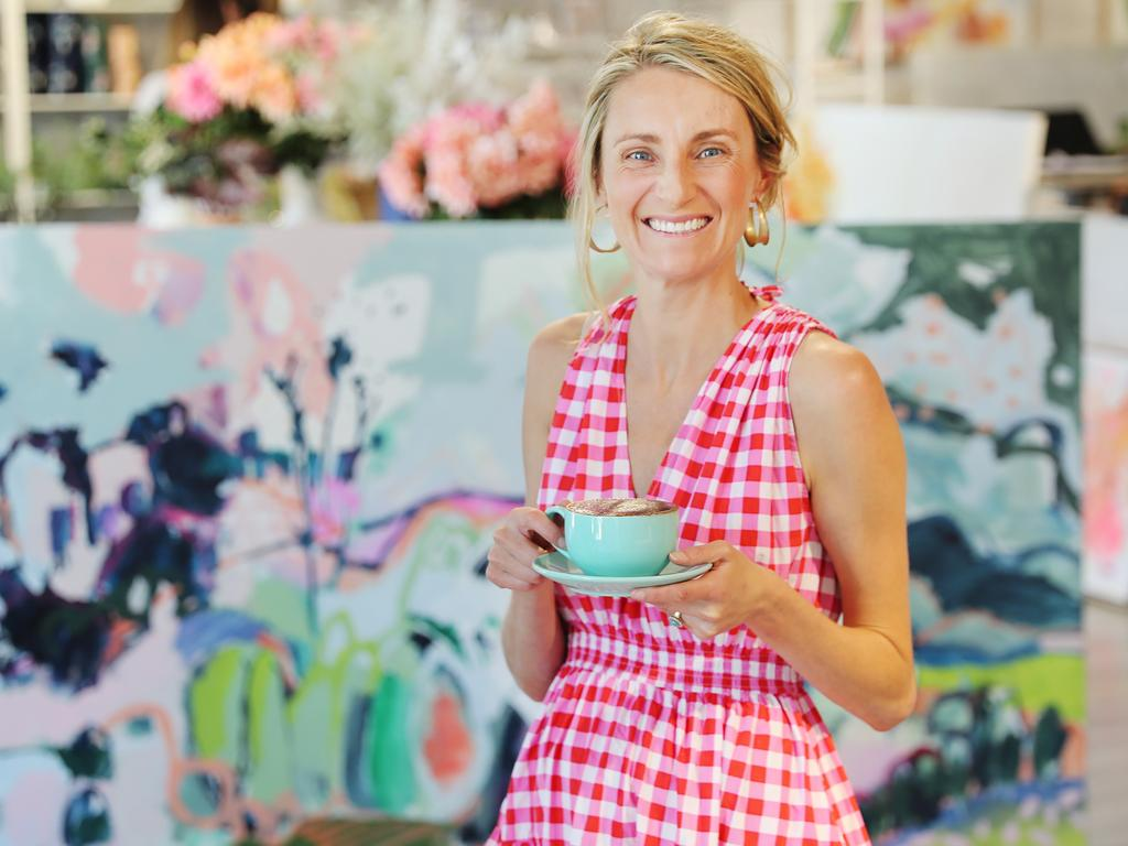 Pip Brett at her cafe, Sonic, in Orange where she has been auctioning off artwork and donating the money. Picture: Rohan Kelly