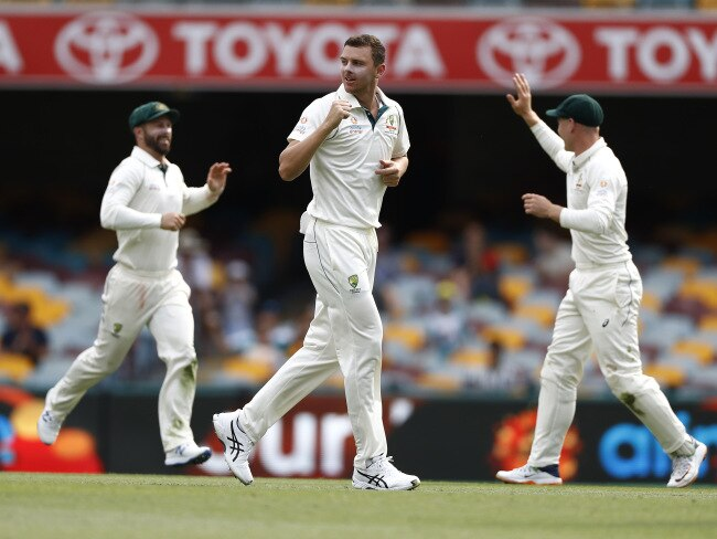 Josh Hazlewood picked up a hatful of wickets on day four. Picture: AFP
