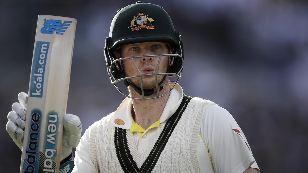 Steve Smith scored 211 against the Poms at Old Trafford wearing the neck guard.