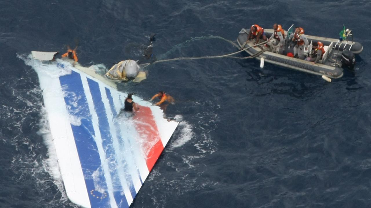 Brazilian navy sailors recover debris from Air France Flight 447 in the Atlantic Ocean. Picture: Brazil's Air Force