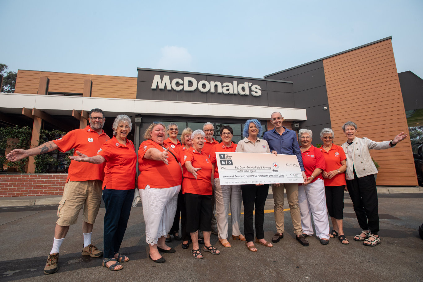 Dave Munro, who owns the Coffs Harbour and Grafton McDonalds donated funds this morning to the Red Cross Bushfire Appeal.