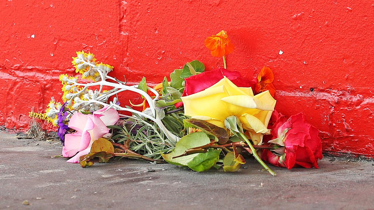 One of the bunches of flowers left at the scene of the tragic incident. Picture: ZAK SIMMONDS