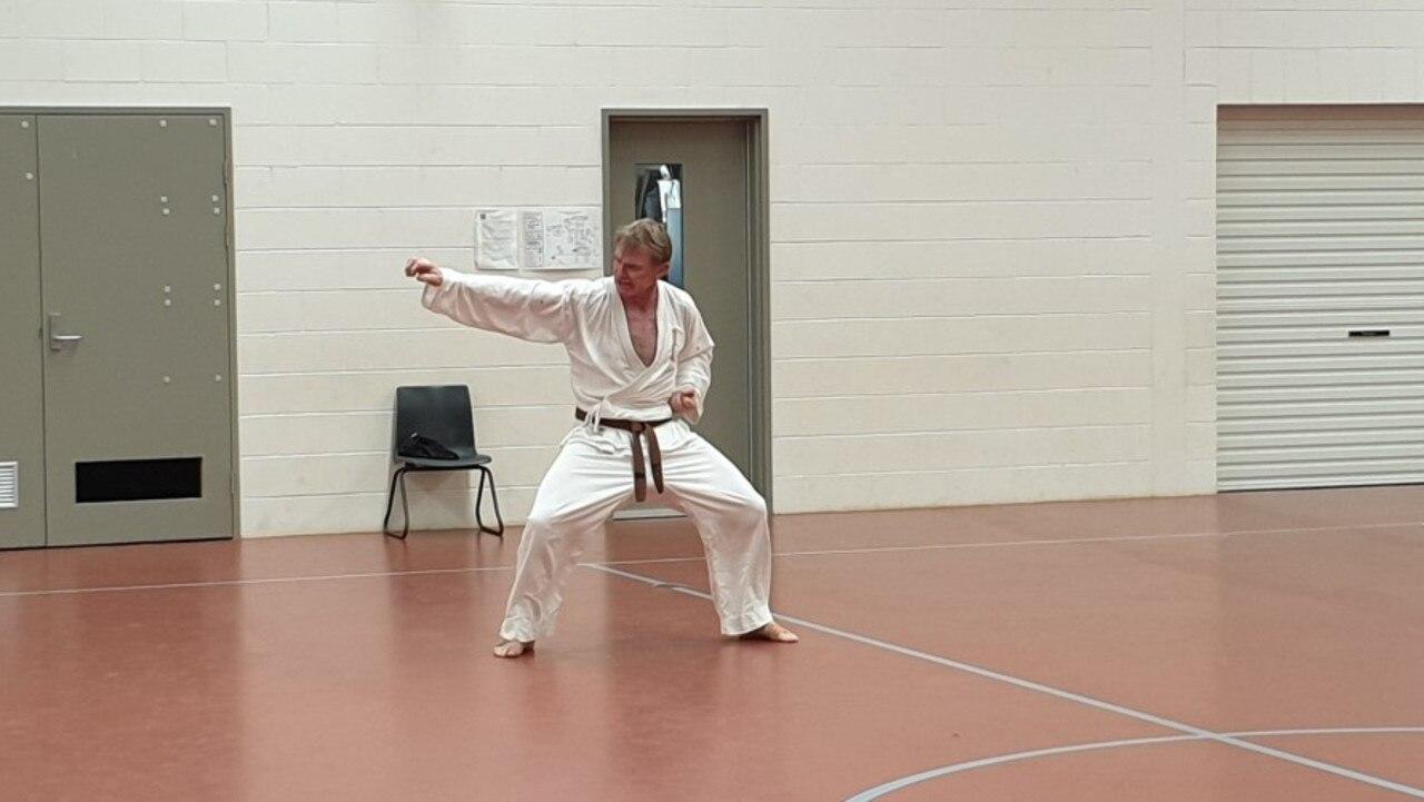 Mugen Gissen Karate Do student Owen Stewart showing off his skills at the grading day in Nanango.