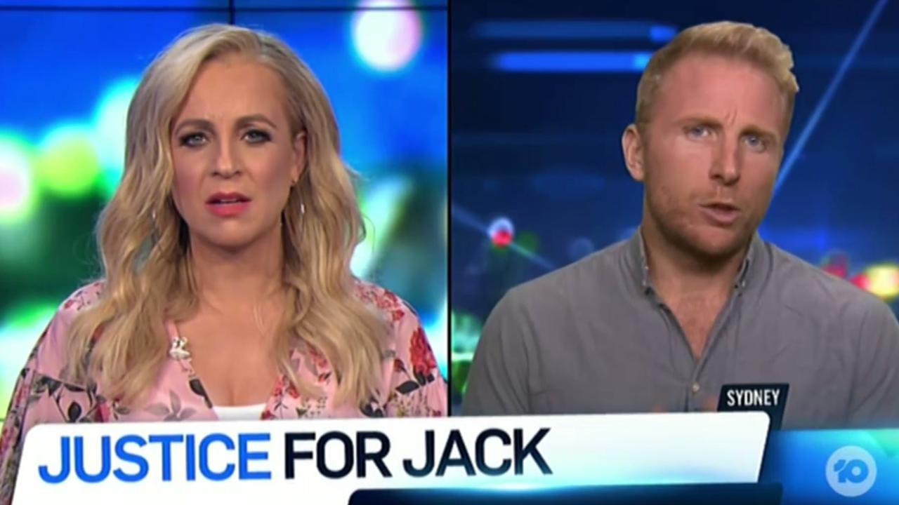 A screenshot from Channel 10's The Project. Dylan Hafertepen has put forward a defamation claim over the show's report about his partner, Jack Champan, who died after having silicone injected into his scrotum. Picture: Channel 10