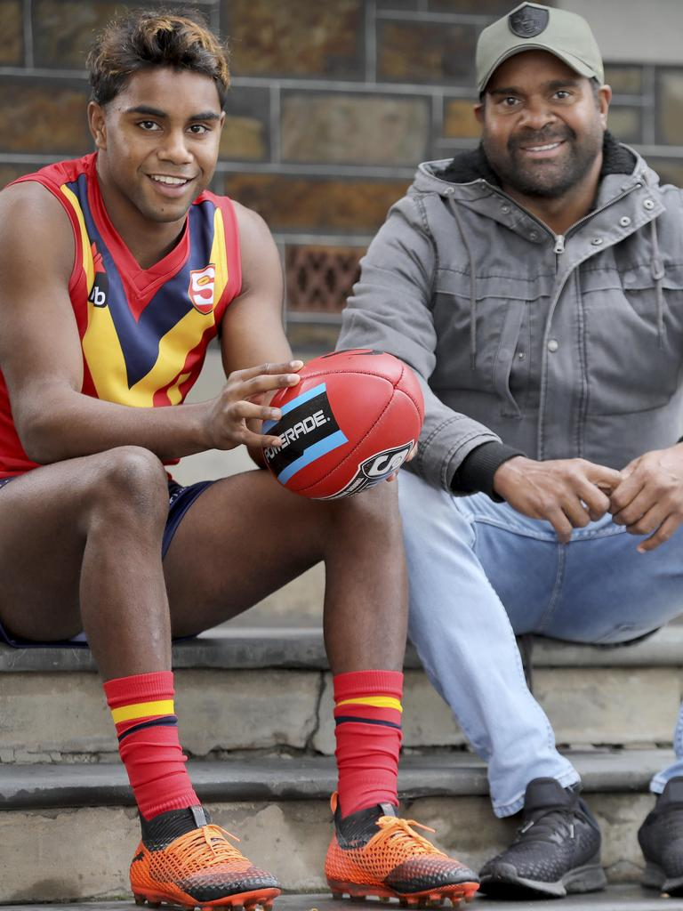 Kysaiah Pickett with his uncle, former AFL star Byron.