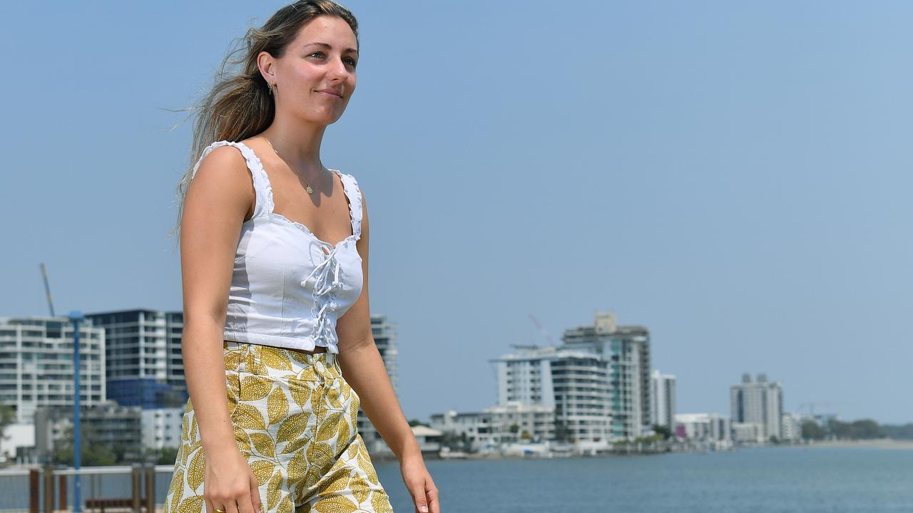 Maple Organic Wear owner Maddi Butel models one of her sustainable fashion lines at Maroochydore. Photo: John McCutcheon