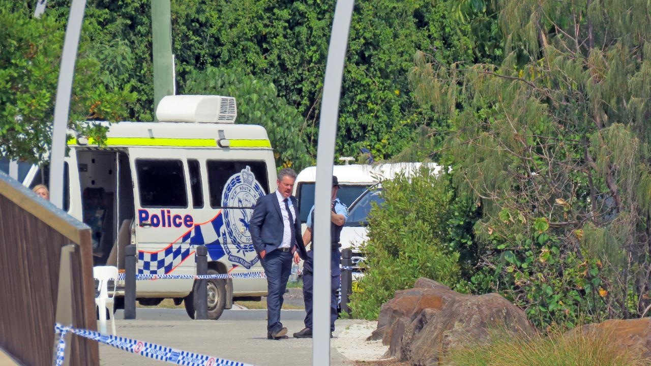 A crime scene at Tweed Heads Jack Evans Boat Harbour Park where a man was found dead in a sleeping bag. Picture: Jodie Calcott.