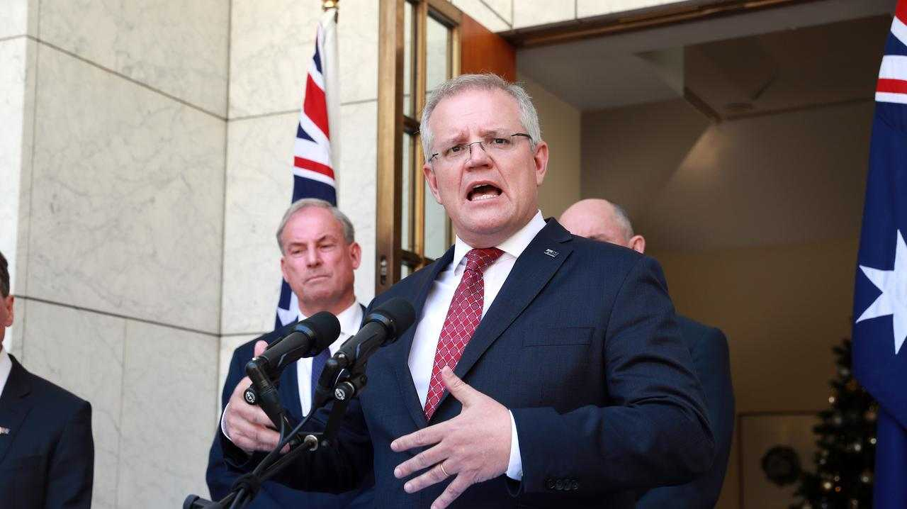 Prime Minister Scott Morrison, Greg Hunt, Stuart Robert and Richard Colbeck during a press conference at Parliament House in Canberra. Picture: Gary Ramage