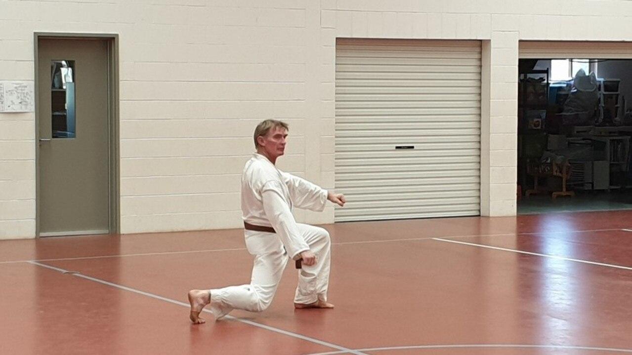Mugen Gissen Karate Do student Owen Stewart in action during his grading.