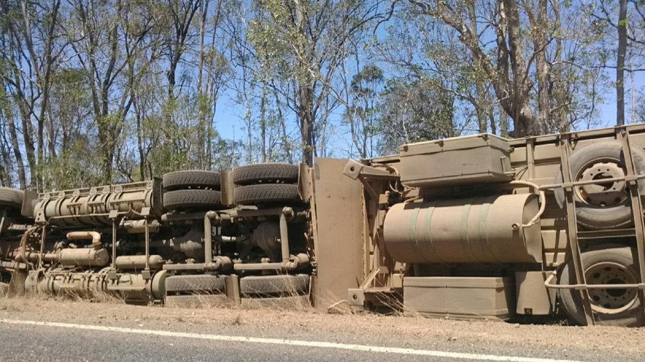 A truck carrying 120 head of young cattle rolled on the Isis Highway, 20km west of Childers on Saturday afternoon.