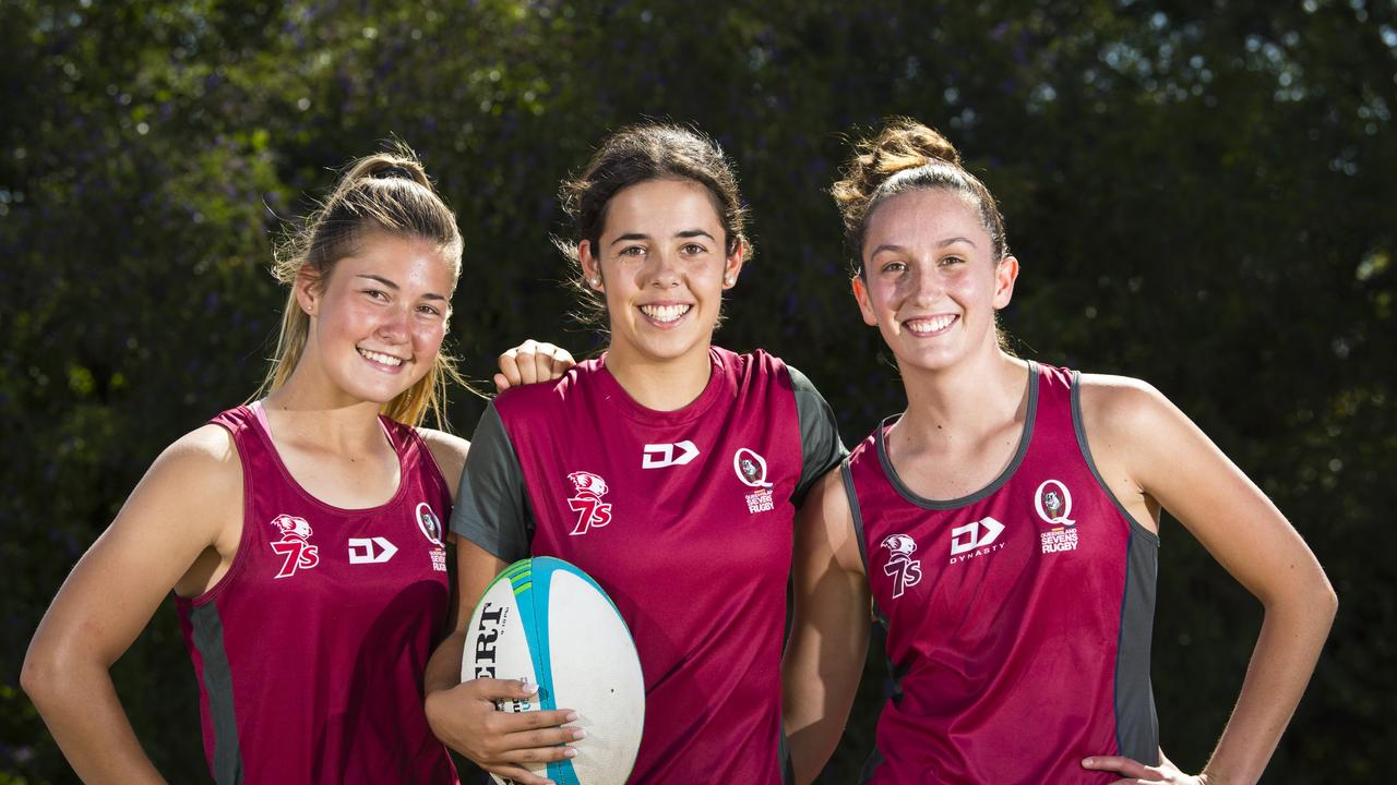 Toowoomba trio (from left) Jada Ferguson, Lily Black and Chloe Cocks have been named in the QLD Reds under-17 rugby sevens team that will compete at the national championships. Picture: Kevin Farmer