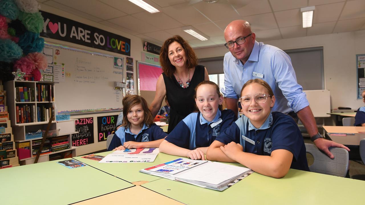 Jennifer Howard MP with Silkstone State School principal Michael Sawbridge and students Eli Salisbury, Kiara Hardingham and Piper Brown.