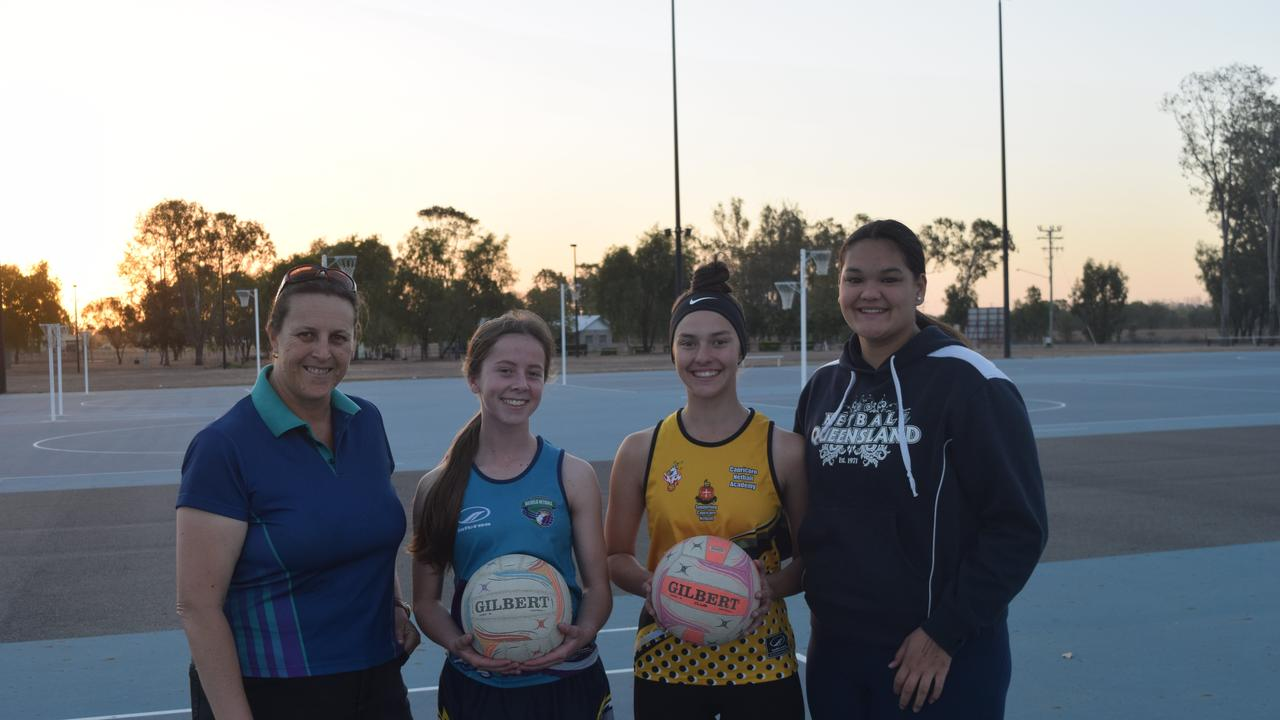 CHASING STATE: Biloela Netball Association coach Shari Hancock is hoping her players, Zali Eckel, Zali Middleton, Brylea Griffiths and Caitlin Boothby (not pictured), have success with the Capricorn Netball Academy Squad.
