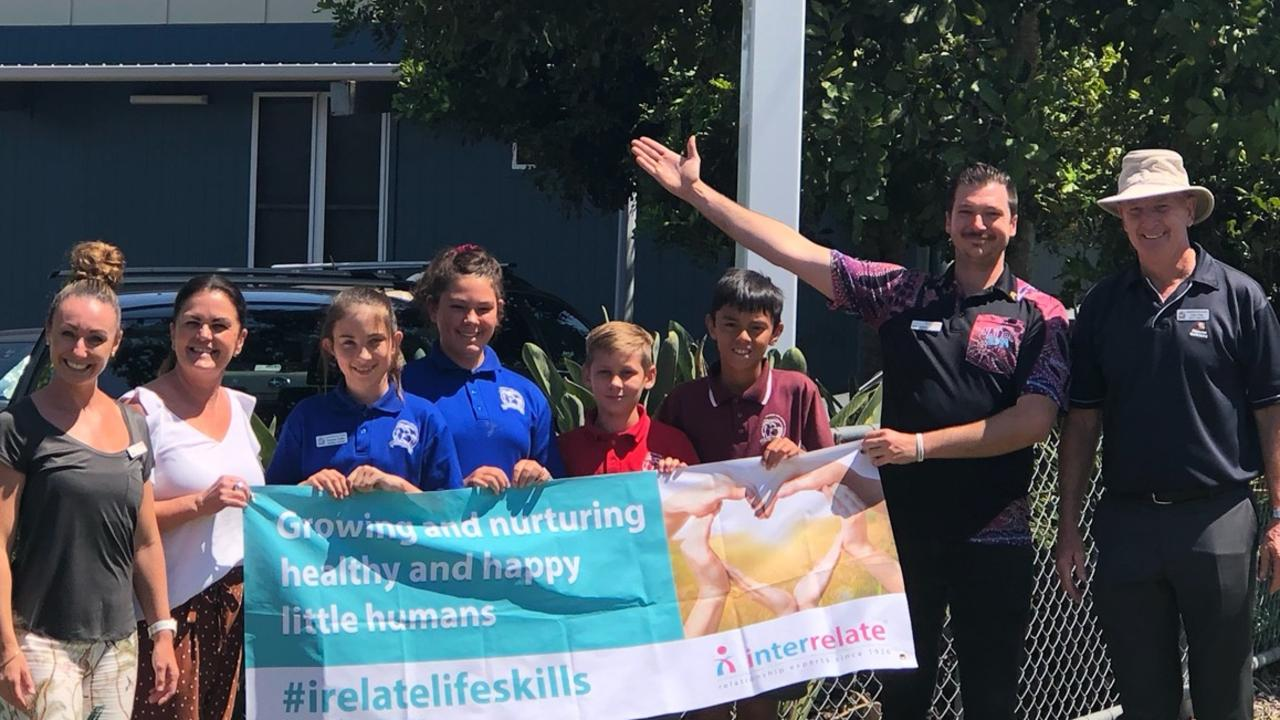 BULLYING: Palmwoods State School deputy principal Allan Petts joins students and Interrelate staff to conquer bullying. Photo: Contributed