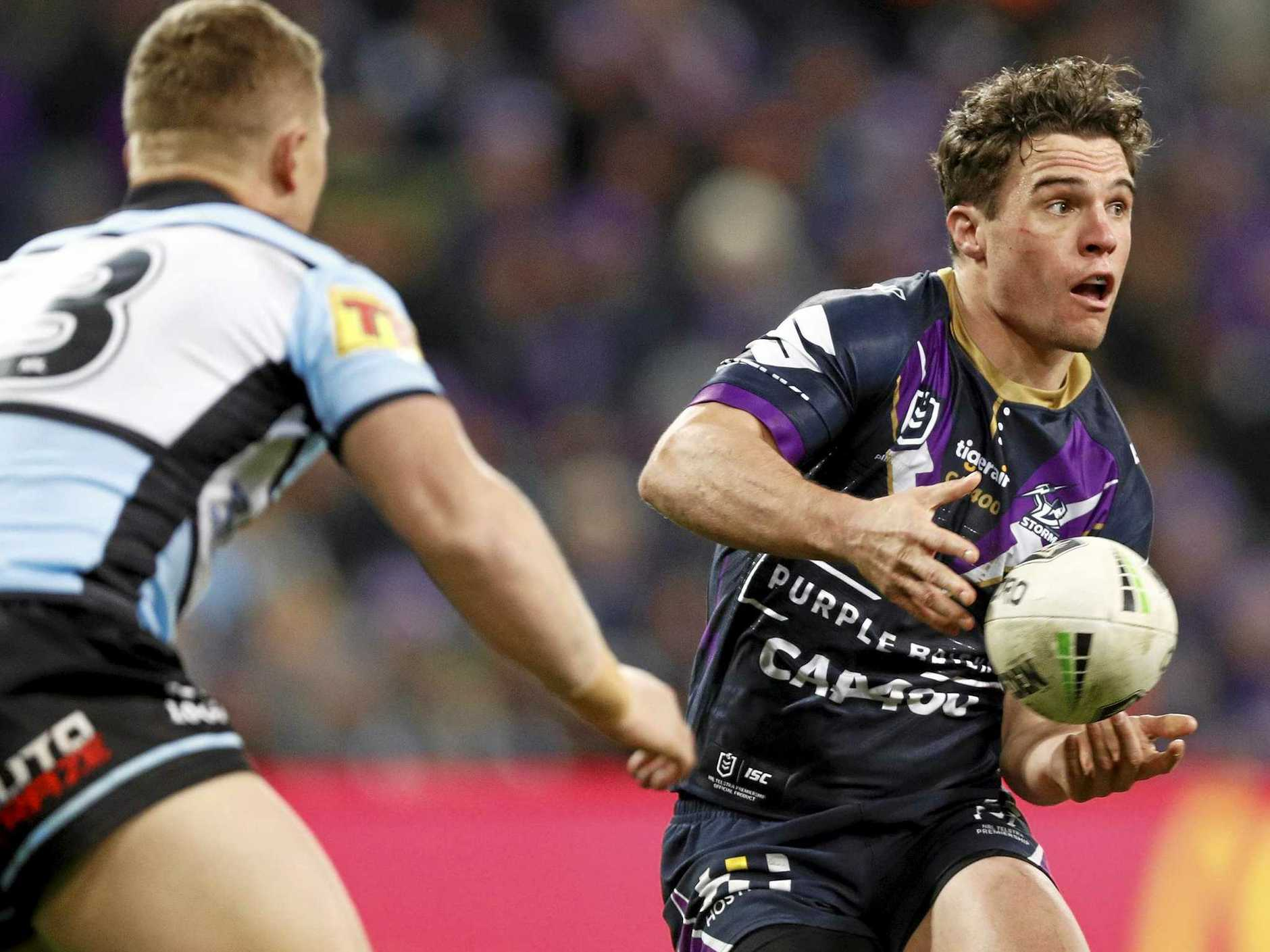 Brodie Croft passes the ball during the Melbourne Storm's round-17 NRL against Cronulla at AAMI Park on July 13. Picture: Daniel Pockett/AAP