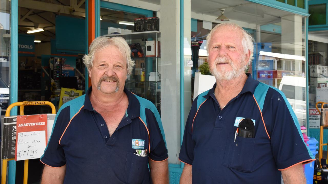 HERE TO HELP: Mundubbera Home Timber and Hardware employee Kelvin Wiley and owner Garnet Keune. Photo: Alex Treacy