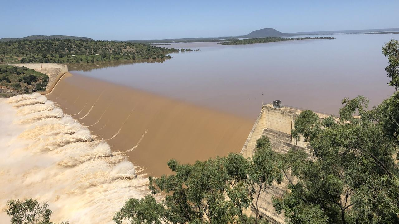 Floodwaters rush over the Burdekin Falls Dam in February 2019. Picture: TRUDY BROWN