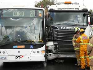 Elderly woman injured after truck and bus collision
