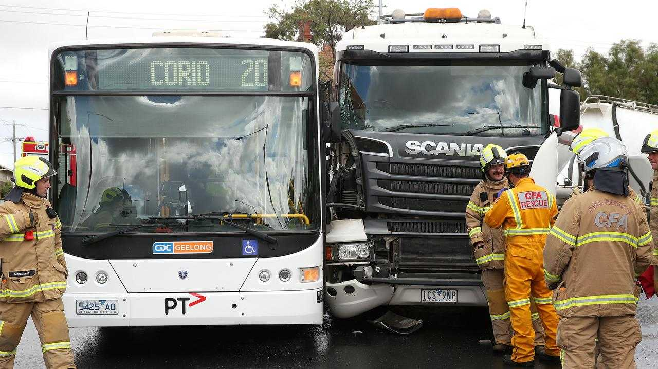 A truck and a bus collided at the intersection of Latrobe Terrace and Ryrie St. Picture: Alison Wynd