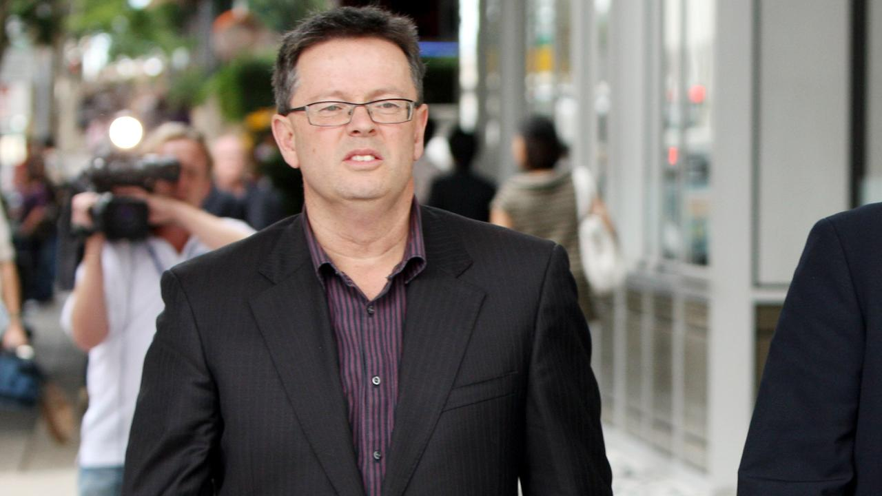 Company director Andrew Young leaving the Kleenmaid second creditors meeting at the Mercure Hotel in Brisbane, Queensland after it was decided to liquidate the company.