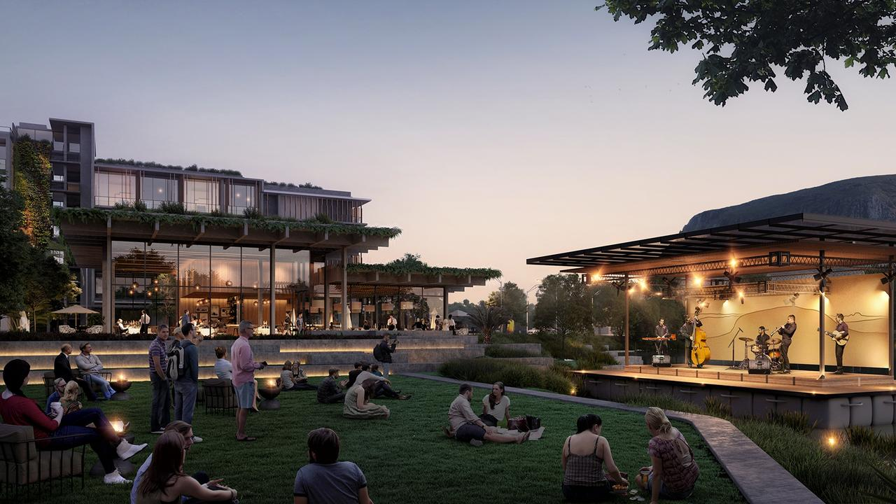 Sekisui's major opponents say lighting from Sekisui House's Yaroomba development would have a detrimental impact on the nesting loggerhead turtle population. Pictured is an artist's impression of a jazz concert on the lake stage with views back to Mount Coolum. Photo: Contributed